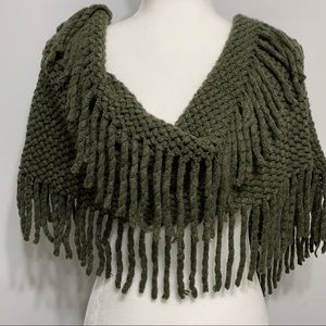 Olive green knit infinity scarf with fringe. NWOT